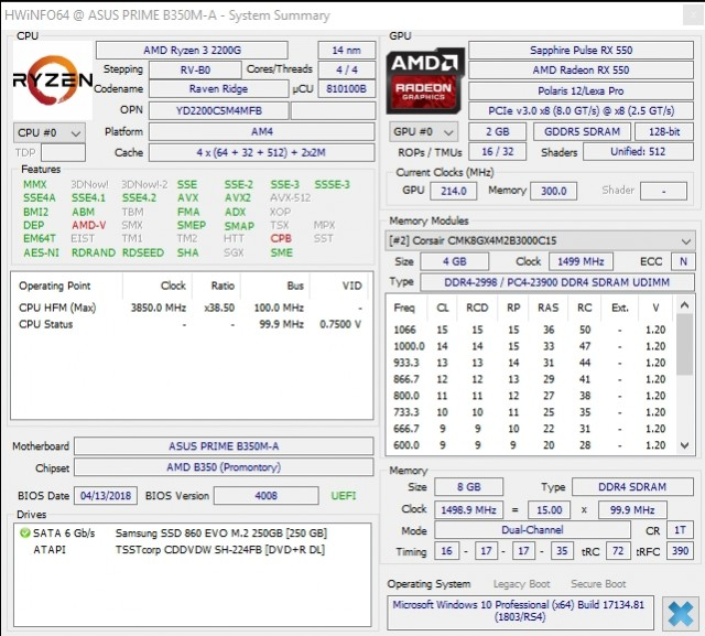 Ryzen 3 2200G OC RX550 RAM 3000MHz
