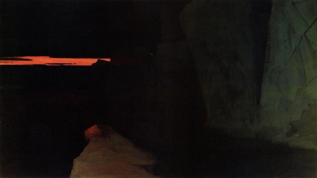 Alexandre Borissov The Land of Death. August Night in Arctic Ocean. 1903.  Oil on canvas. 240x351 cm.  Museum of Arctic and Antarctica.  Saint-Petersburg.