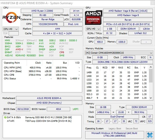 Ryzen3 2200G 16Go DDR4 3000 hwinfo
