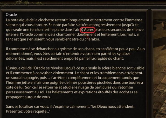 AoD FR Oracle 100 Imperials gift text bug